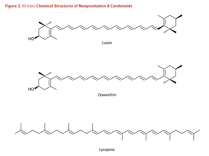 Figure 2. All-trans Chemical Structures of Nonprovitamin A Carotenoids