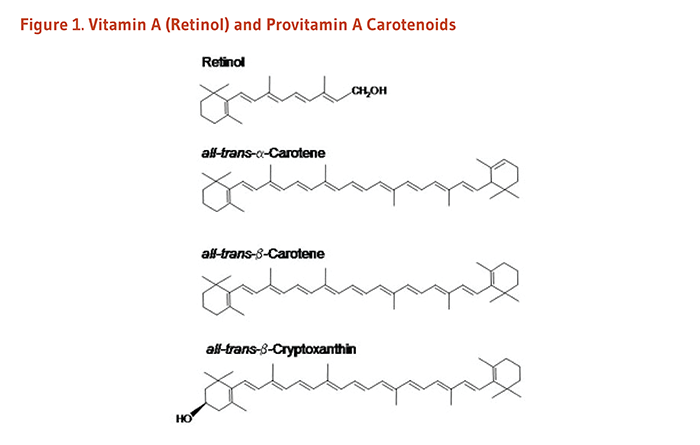 Figure 1. Chemical structures of vitamin A (retinol) and provitamin A carotenoids: retinol, all-trans-alpha-carotene, all-trans-beta-carotene, and all-trans-beta-cryptoxanthin.
