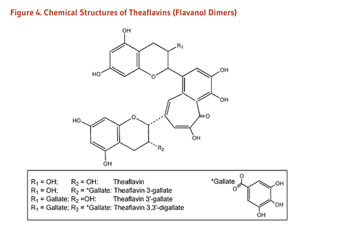 Figure 4. Chemical Structures of Theaflavins (Flavanol Dimers): theaflavin, theaflavin 3-gallate, theaflavin 3'-gallate, and theaflavin 3,3'-digallate.