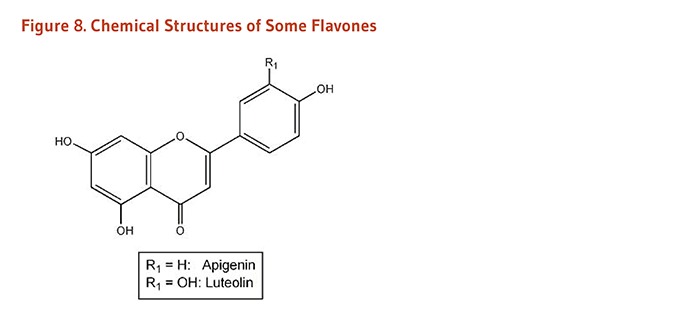 Figure 8. Chemical Structures of Some Flavones: apigenin and luteolin.