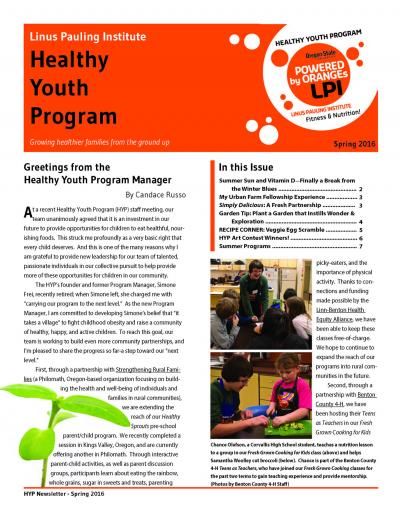Current HYP newsletter - front page