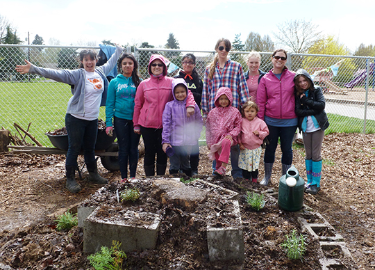 group of garden volunteers