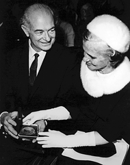 with Ava after receiving Nobel Peace Prize in 1958