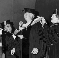 Preparing to deliver the commencement address at the Adelphi University, June 1967