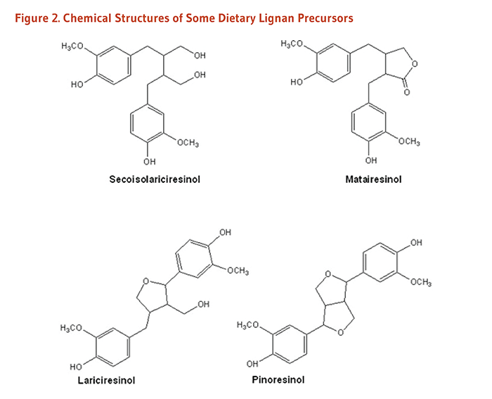 Figure 2. Chemical Structures of Some Dietary Lignan Precursors: secoisolariciresinol, matairesinol, lariciresinol, and pinoresinol.