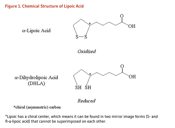 Figure 1. Chemical structures of lipoic acid: alpha-lipoic acid and dihydrolipoic acid. Lipoic has a chiral center, which means it can be found in two mirror image forms (S- and R-alpha-lipoic acid) that cannot be superimposed on each other.