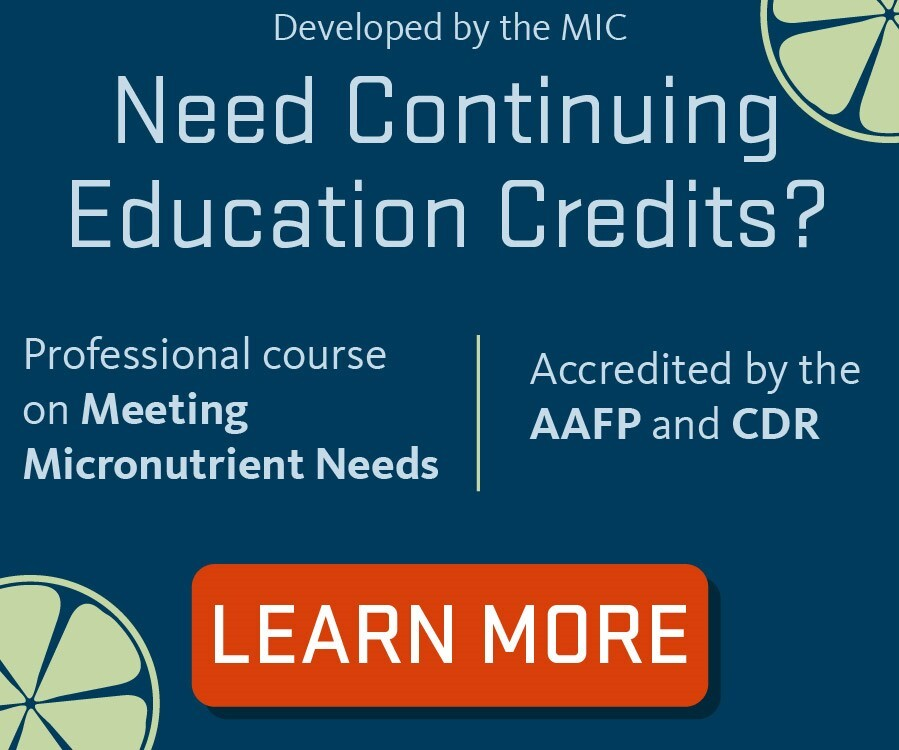 "button that links to ""Meeting Micronutrient Needs"" continuing education course page"
