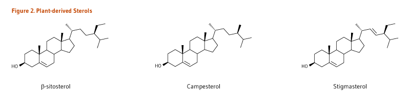 Figure 2. Chemical Structures of Plant-derived Sterols, beta-sitosterol, campesterol, and stigmasterol.