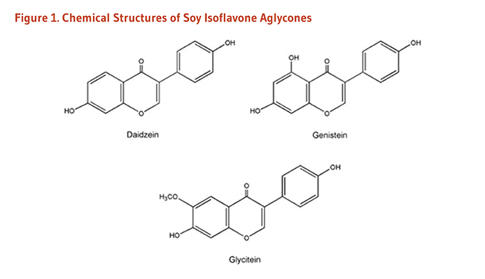 Figure 1. Chemical Structures of the Soy Isoflavone Aglycones: daidzein, genistein, and glycitein.