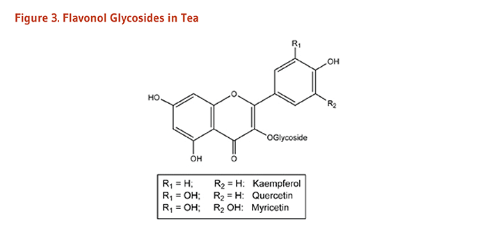 Figure 3. Chemical Structures of Flavonol Glycosides in Tea: kaempferol, quercetin, and myricetin.
