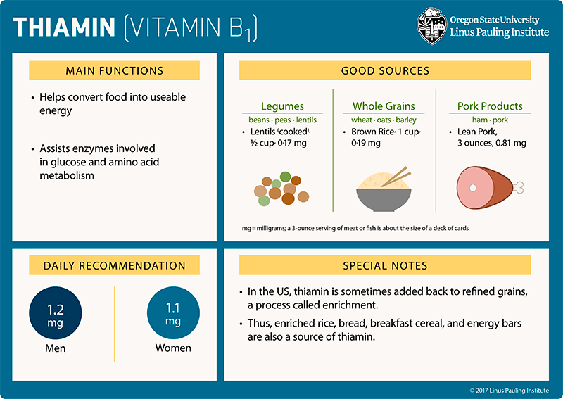 Thiamin Flashcard. Main Functions: (1) helps covert food into usebale energy, and (2) assists enzymes involved in glucose and amino acid metabolism. Good Sources: Legumes (beans, peas, lentils), lentils (cooked), one-half cup=0.01 mg; Whole Grains (wheat, oats, barley), brown rice, 1 cup=0.19 mg; pork products (ham, pork), lean pork, 3 ounces=0.81 mg. Daily Recommendation. 1.2 mg/day for men and 1.1 mg/day for women. Special Notes. (1) In the US, thiamin is sometimes added back to refined grains, a process called fortification. (2) Thus, enriched rice, bread, breakfast cereal, and energy bars are also a source of thiamin.